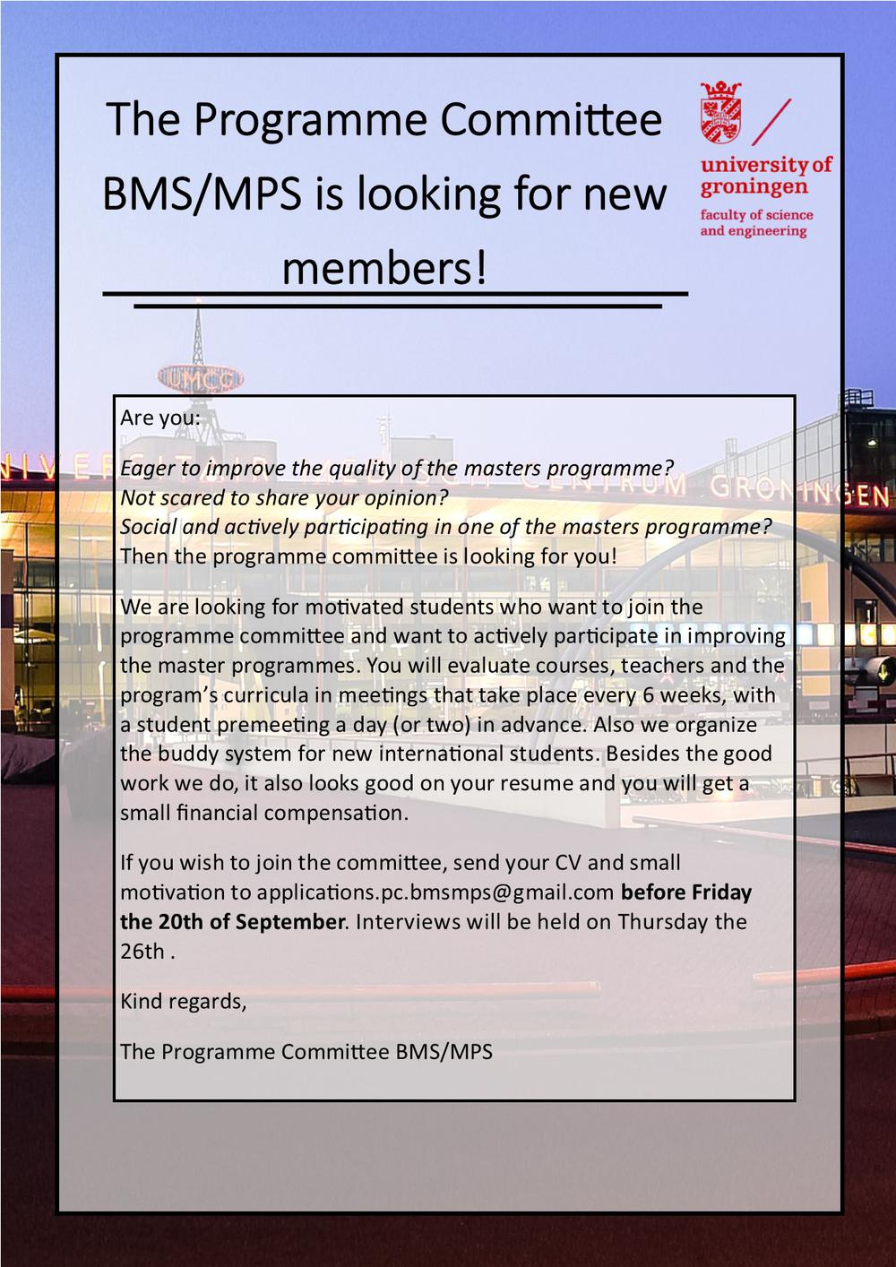 The Master Programme Committee BMS/MPS wants you!