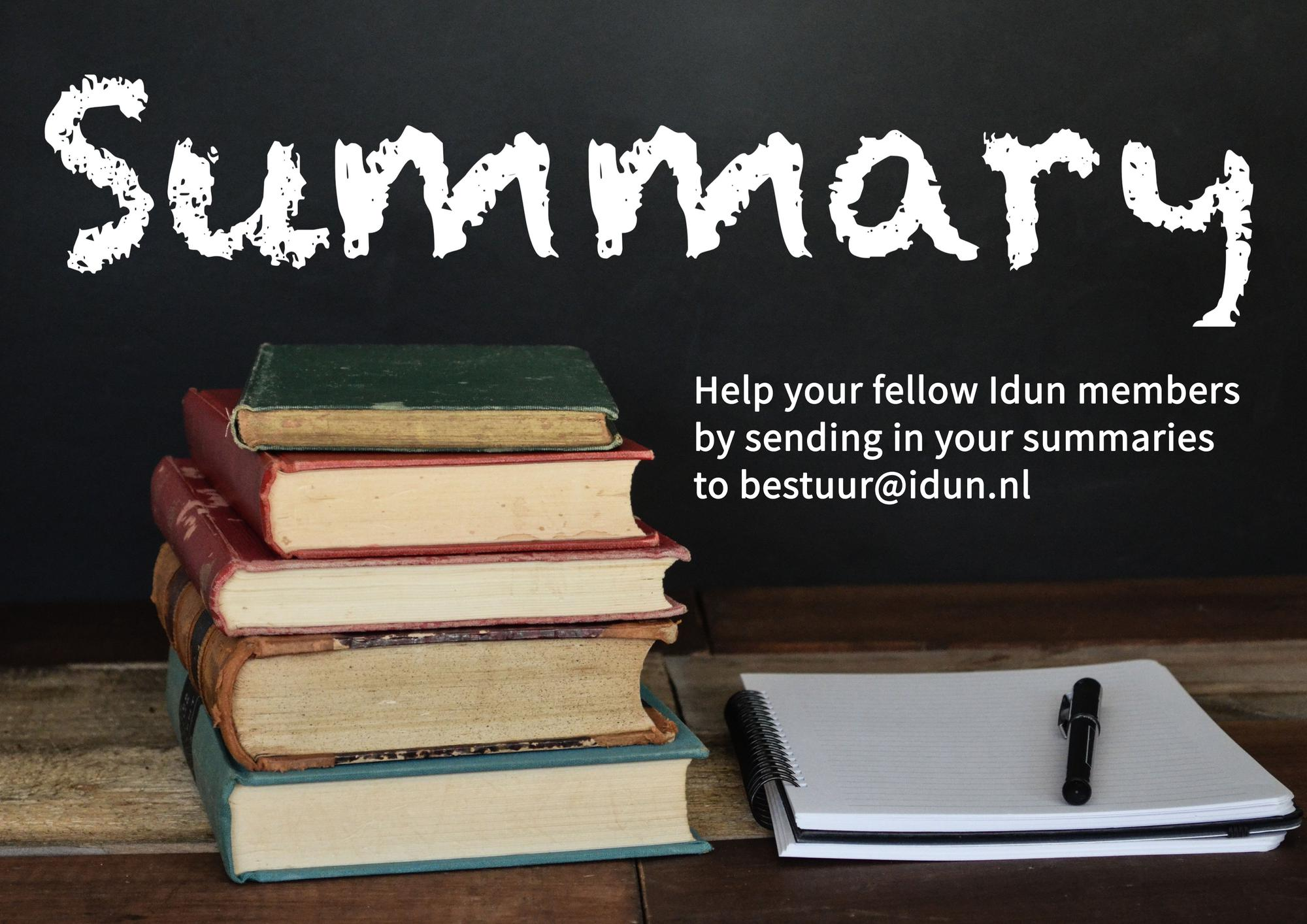 GLV Idun is looking for summaries!